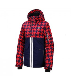 Kurtka Rehall BELLAH-R Snowjacket Womens Hounstooth Navy Red
